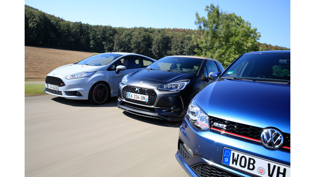 DS 3 THP 208, Ford Fiesta ST200, VW Polo GTI, Frontansicht