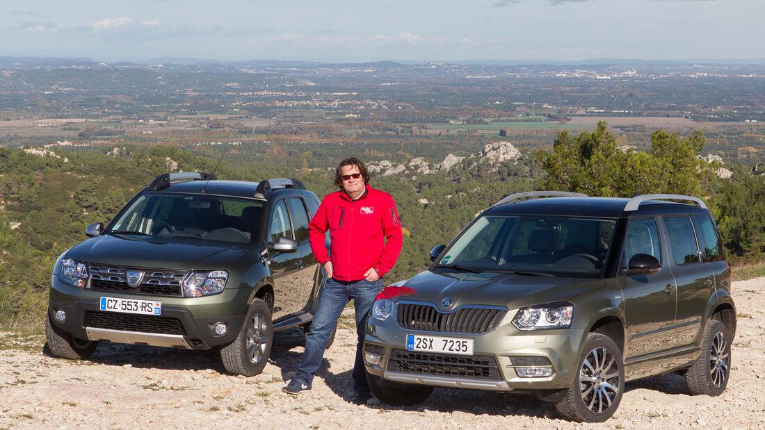 Dacia Duster dCi 110 4x4, Skoda Yeti 2.0 TDI 4x4, Frontansicht