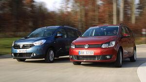 Dacia Lodgy dCi 110, VW Touran 1.6 TDI BMT, Frontansicht