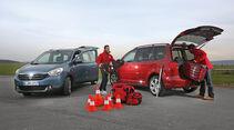 Dacia Lodgy dCi 110, VW Touran 1.6 TDI BMT, Testaufbau