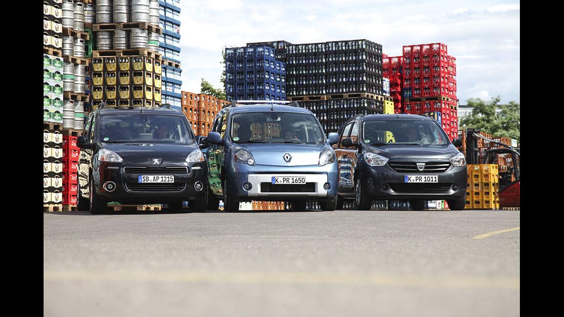 Dacia Lodgy dCi 90, Peugeot Partner Tepee HDi 115, Renault Kangoo dCi 90 energy