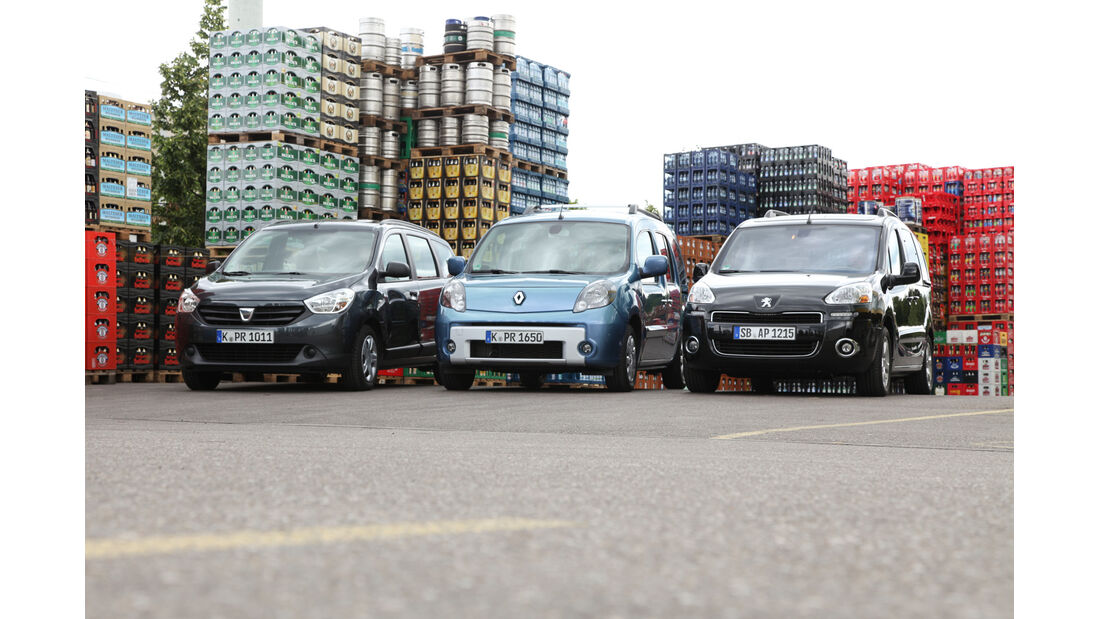 Dacia Lodgy dCi 90, Peugeot Partner Tepee HDi 115, Renault Kangoo dCi 90 energy, Frontansicht