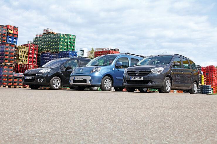 Dacia Lodgy dCi 90, Peugeot Partner Tepee HDi 115, Renault Kangoo dCi 90 energy, Seitenansicht