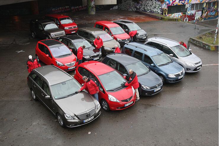 Dacia Logan MCV, Ford Grand C-Max, Honda Jazz, Opel Meriva, VW Caddy, VW Golf, Land Rover Discovery, Mercedes E-Klasse T-Modell, Seat Alhambra, Skoda Superb, VW Bus Multivan, VW Touran