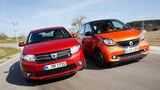 Dacia Sandero TCe 90, Smart Forfour 0.9, Frontansicht