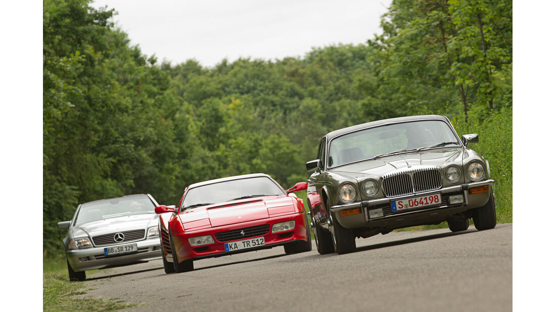 Daimler Double Six, Ferrari 512 TR, Mercedes SL 600, Frontansicht