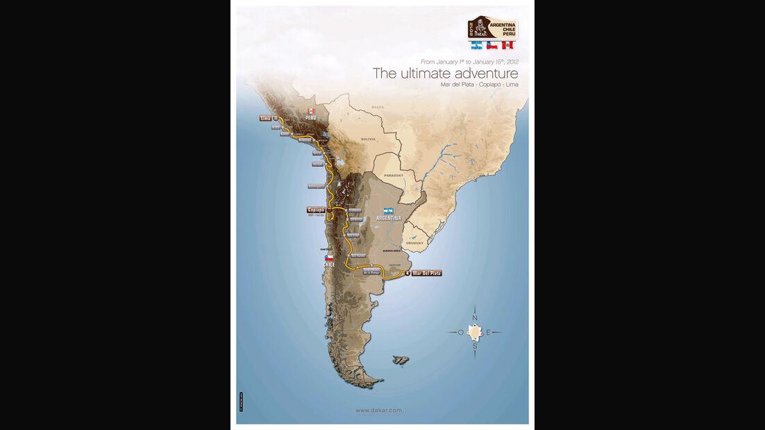 Dakar Rallye, Landkarte