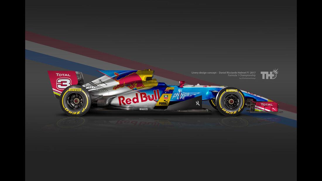 Daniel Ricciardo - F1-Autos mit Helm-Lackierung - 2016