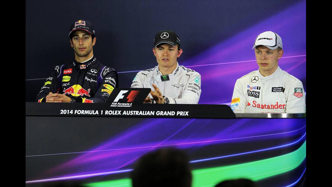 Daniel Ricciardo - Nico Rosberg - Kevin Magnussen - Formel 1 - GP Australien - 16. März 2014