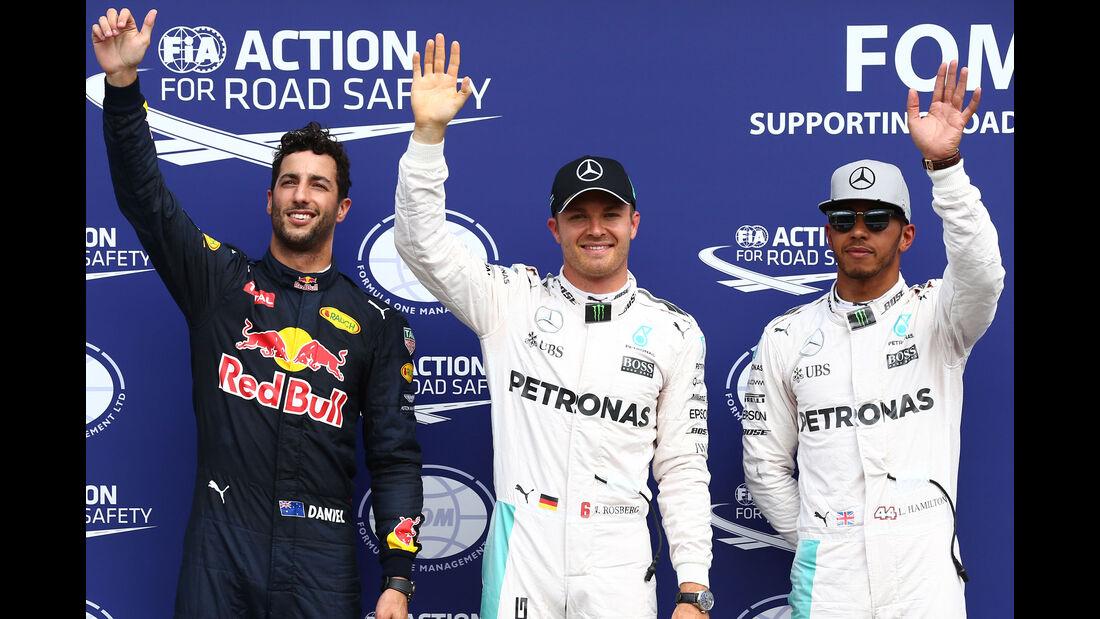 Daniel Ricciardo - Nico Rosberg - Lewis Hamilton  - Formel 1 - GP Deutschland - 30. Juli 2016
