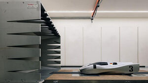 Das Modell des Gegenentwurf vom Porsche Designstudio zum 917/20 in einem Windkanal inszeniert.