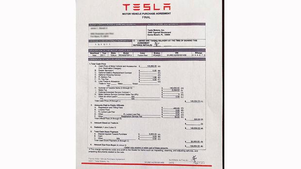 Das letzte gebaute  Exemplar des Tesla Roadster der ersten Generation im Verkauf