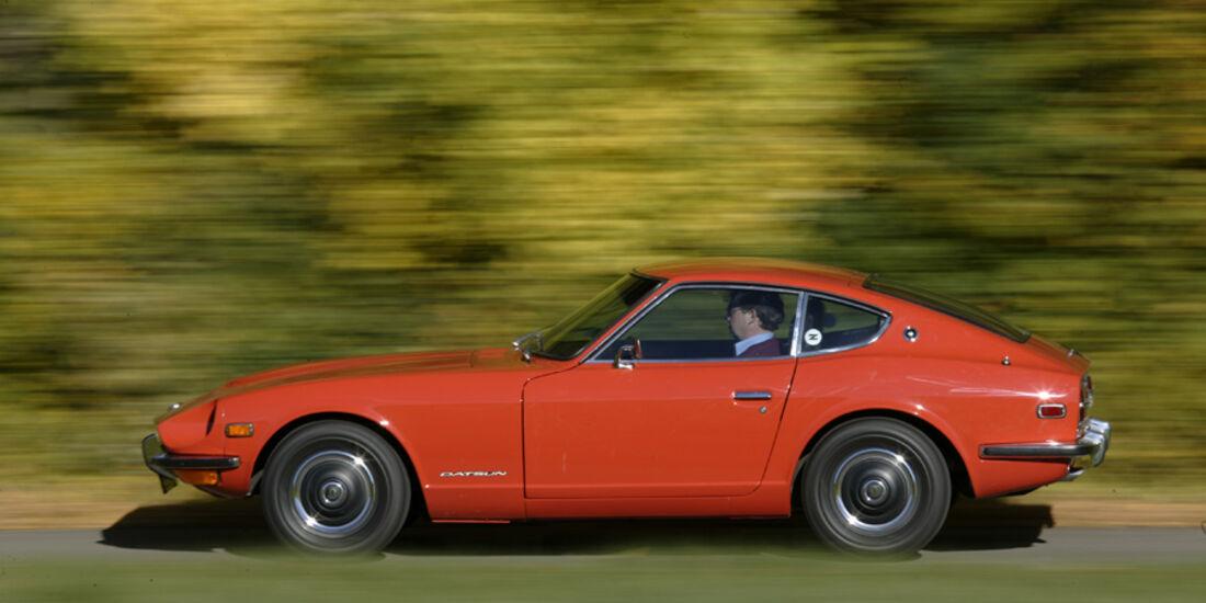 Datsun 240 Z, Seitenansicht, Ausfahrt