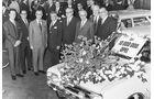 Der zehnmillionste Opel-Wagen, ein Opel Rekord C Caravan, vom Band