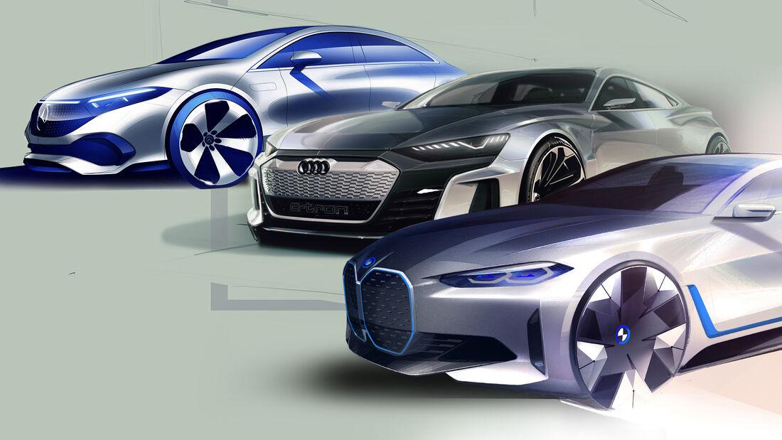 Design Skizzen Collage Audi Mercedes BMW