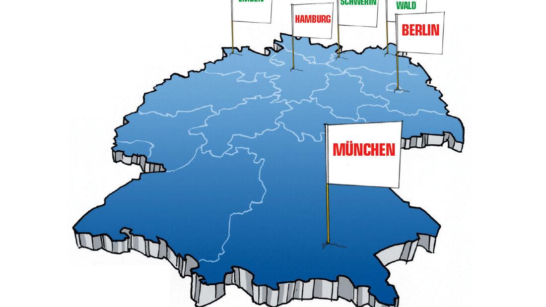 Deutschlandkarte, Fähnchen, Städte