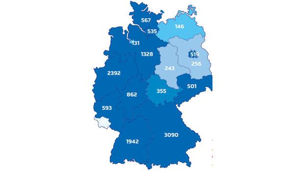 Deutschlandkarte, Ladestationen