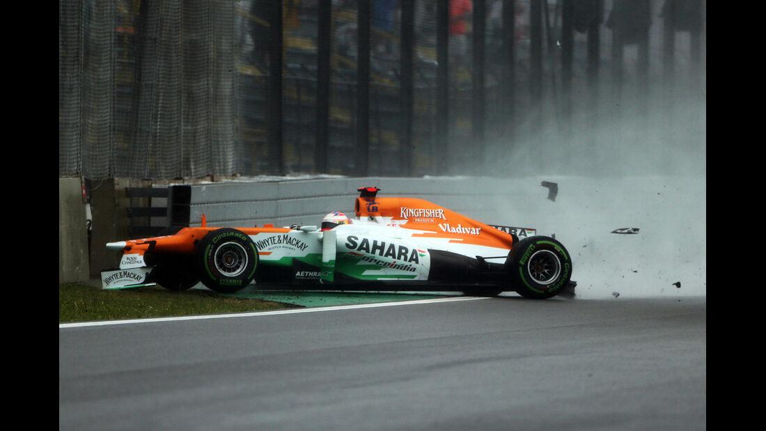 Di Resta GP Brasilien F1 Crashs 2012