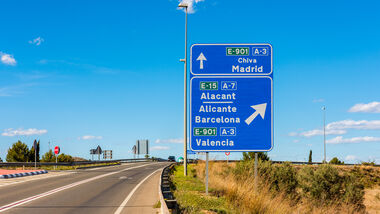 Directional Signs to Madrid Barcelona and Valencia Spain