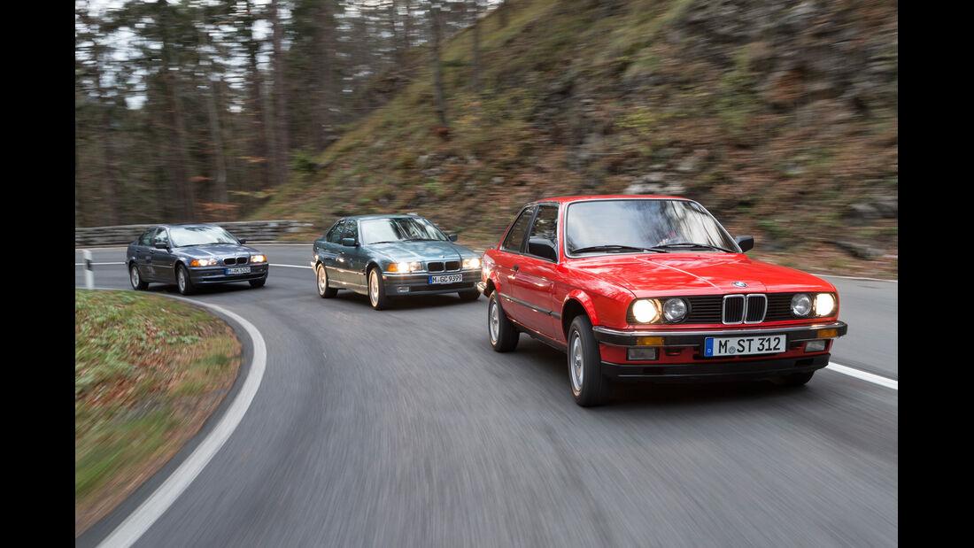 Drei Generationen BMW Dreier, Frontansicht