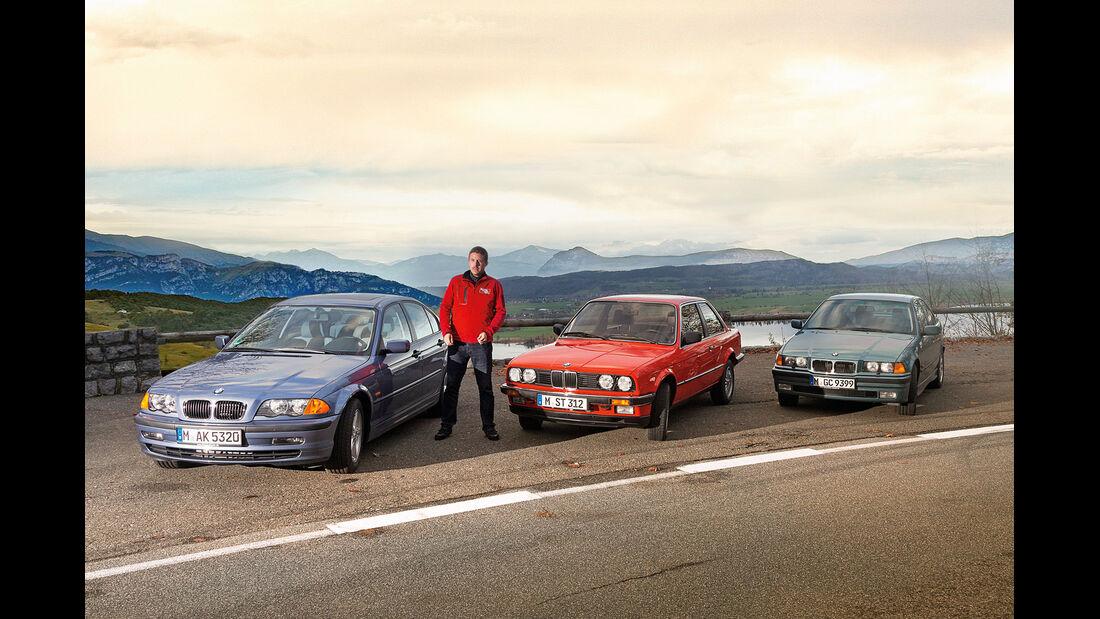 Drei Generationen BMW Dreier, Frontansicht, Jens Drallle