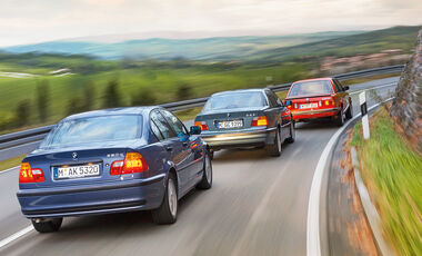 Drei Generationen BMW Dreier, Heckansicht