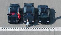 Drei schwarze Lamborghini Countach LP 5000 QV, Turbo S, LP 400 - Luftaufnahme
