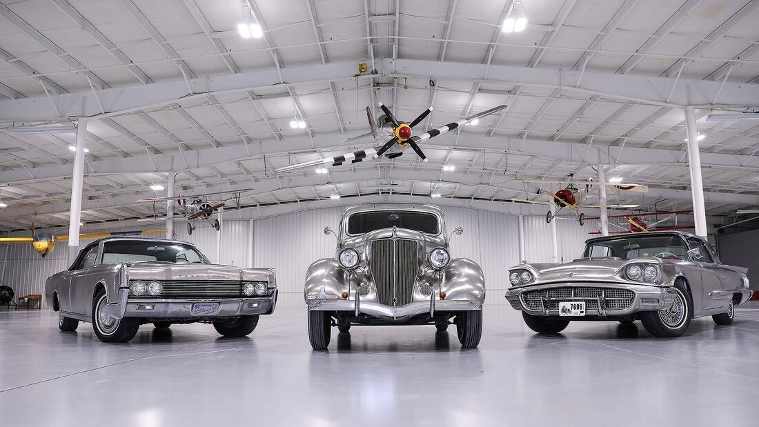Edelstahl-Autos: 1936er Ford Deluxe Sedan, 1960er Ford Thunderbird, 1967er Lincoln Continental Convertible