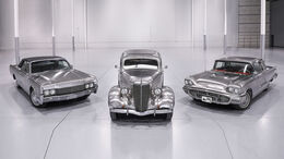 Edelstahl-Autos: 1936er Ford Deluxe Sedan, 1960er Ford Thunderbird, 1967er Lincoln Continental Convertible