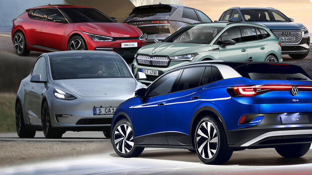 Elektro Crossover Kaltvergleich Tesla VW Skoda Audi Kia Hyundai Collage