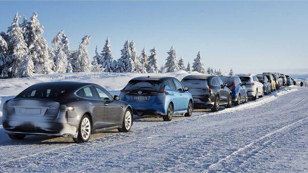 Elektroauto Schnee Winter Eis