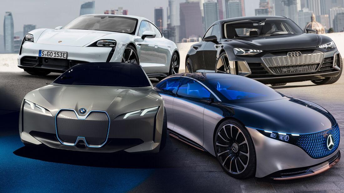 Elektroautos Deutschland BMW Mercedes Audi Porsche Collage