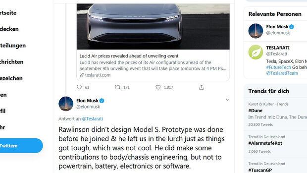 Elon Musk, Peter Rawlinson, Twitter