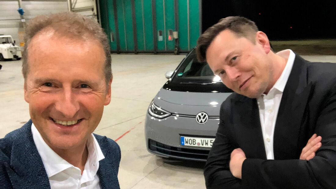 Elon Musk bei Herbert Diess VW ID.3