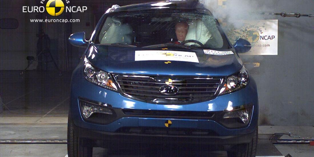 EuroNCAP-Crashtest, Kia Sportage, Pfahl-Crashtest