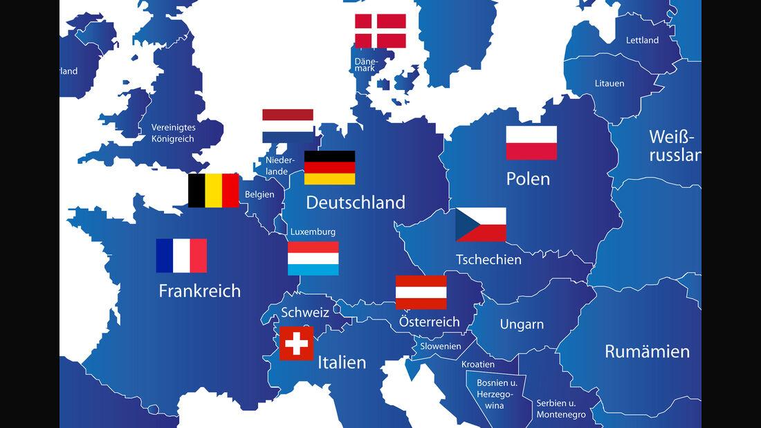 Europa Karte Deutschland Nachbarländer mit Flaggen