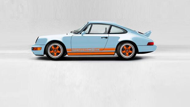 Everrati Porsche 911 (964): Elektro-Restomod mit Gulf-Oil-Lackierung