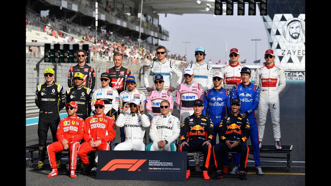 F1 - Fahrer - Gruppenfoto 2018 - GP Abu Dhabi 2018