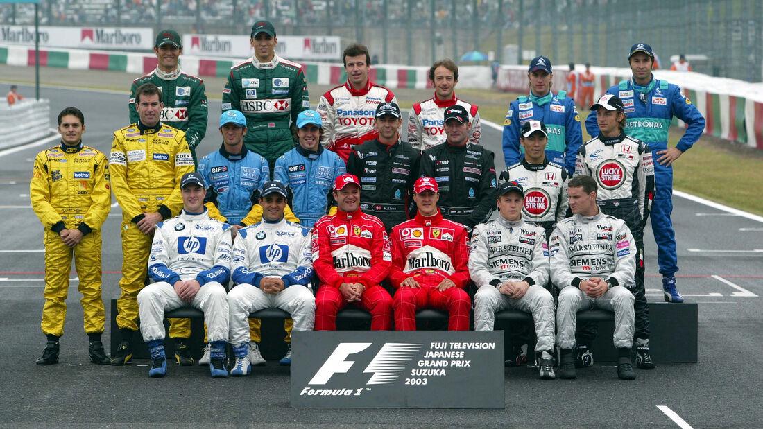 F1-Piloten - Gruppenfoto - GP Japan 2003