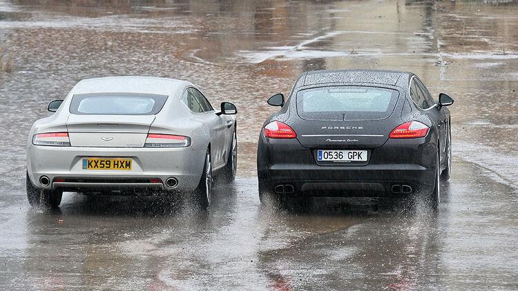Aston Martin Rapide Und Porsche Panamera Turbo Vergleich Der Viertürigen Sportwagen Auto Motor Und Sport