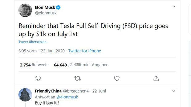FSD-Tweet von Elon Musk