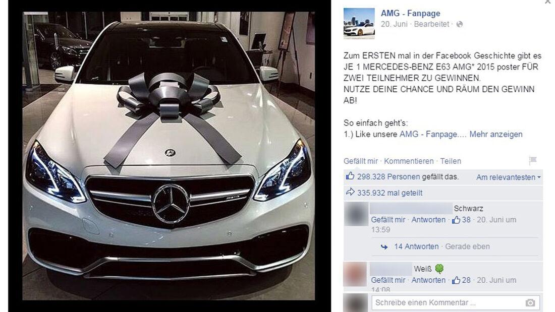 Facebook Betrug E63 AMG Gewinnspiel