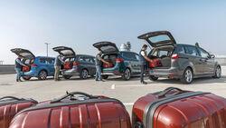 Familienautos, BMW218d Gran Tourer, Ford GraND c-Max 2.0 TDCi, Kia Carens 1.7 CRDi, VW Touran 2.0 TDI, Exterieur