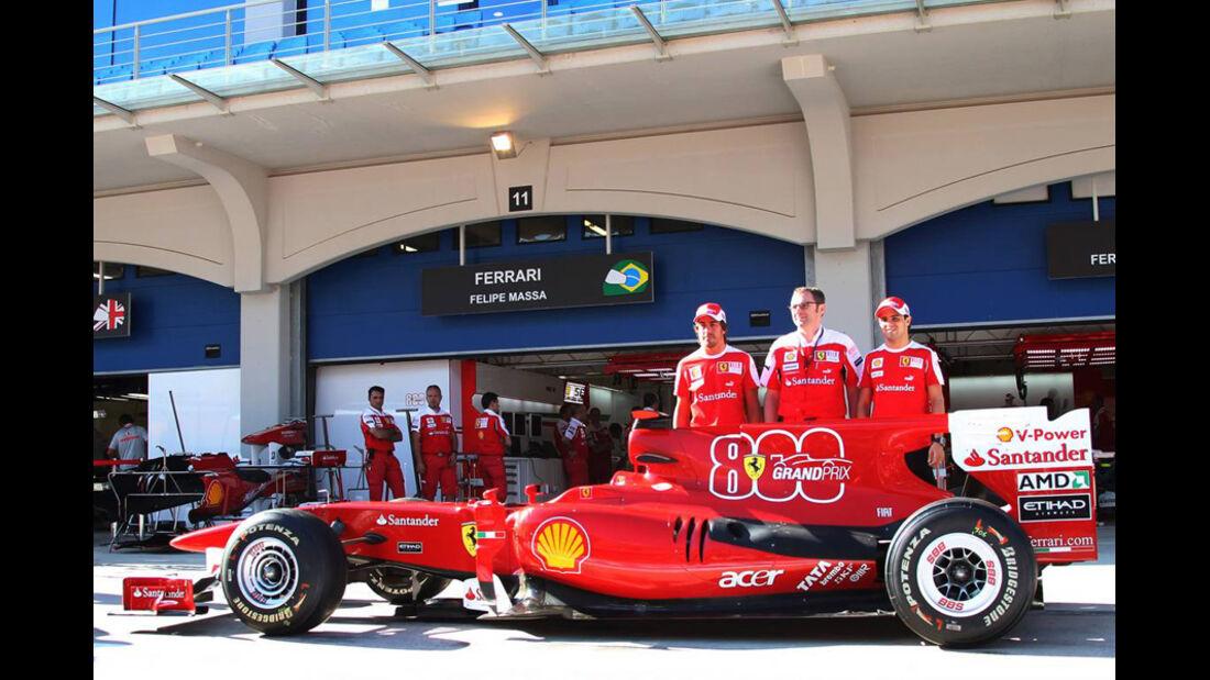 Felipe Massa Fernando Alonso Stefano Domenicali Ferrari