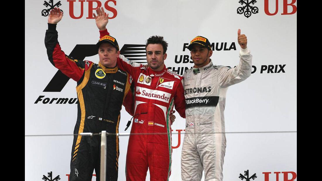 Fernando Alonso - Kimi Räikkönen - Lewis Hamilton - Formel 1 - GP China - 14. April 2013