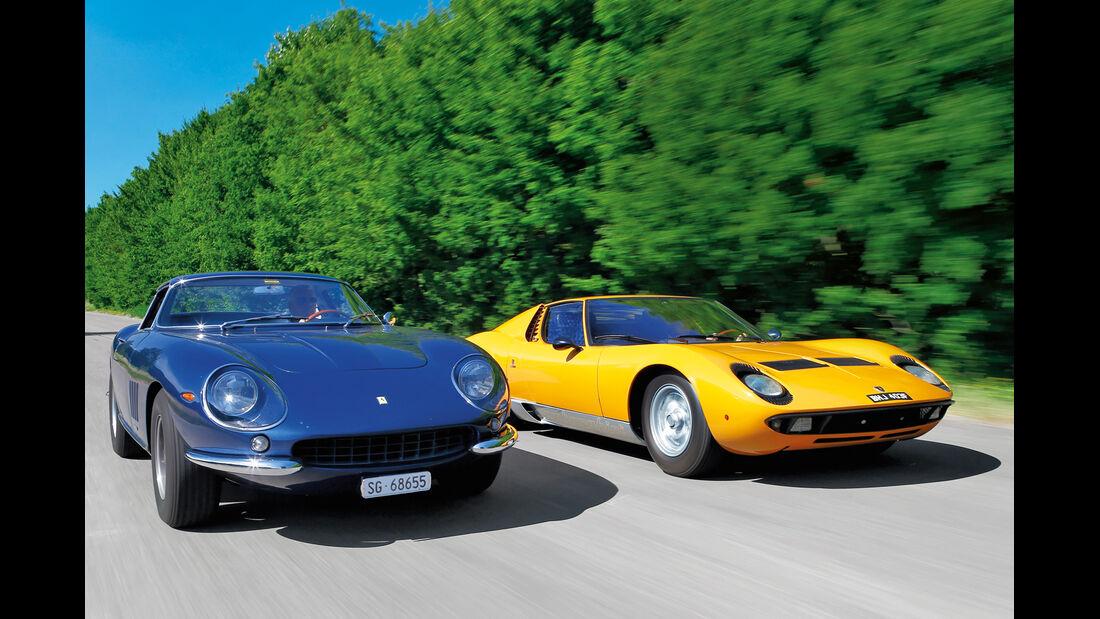 Ferrari 275 GTB/4, Lamborghini Miura P 400, Frontansicht
