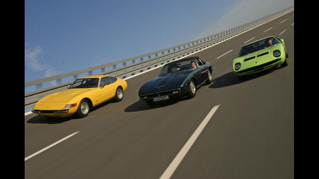 Ferrari 365 GTB/4 Daytona, Lamborghini Miura S, Maserati Ghibli SS
