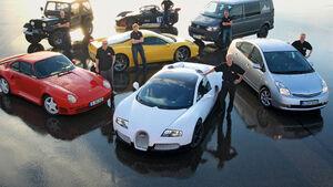 Ferrari 458 Italia, Lotus 2-Eleven, VW Bus, Porsche 959, Jeep CJ, Toyota Prius II, Bugatti Veyron 16.4, Gruppenbild