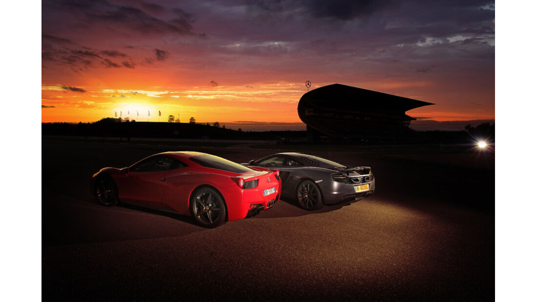Ferrari 458 Italia, McLaren MP4-12C, Abendsonne