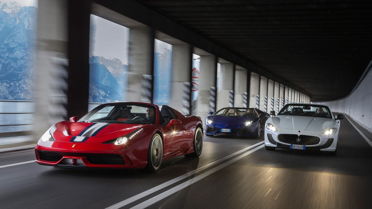 Ferrari 458 Lamborghini Aventador Maserati Gran Cabrio In Traumautos über Traumstraßen Auto Motor Und Sport